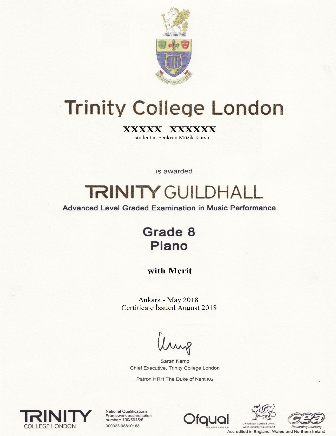 trinity college sertifika